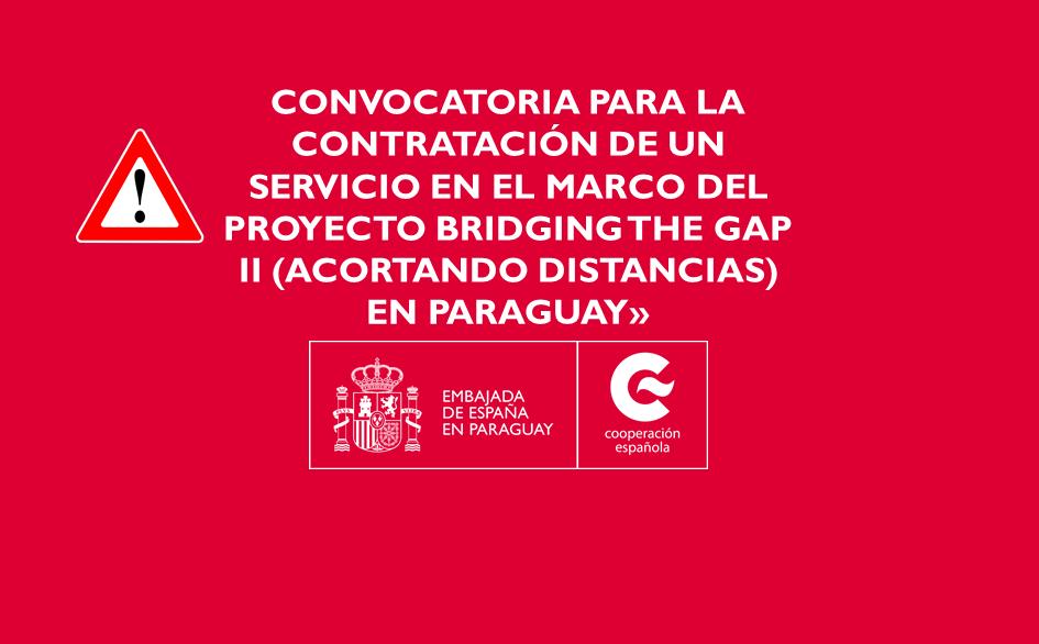 Convocatoria para la contratación de un «Servicio de asistencia técnica a la Dirección General de Estadística, Encuestas y Censos (DGEEC) para la incorporación de información sobre discapacidad en el CENSO 2022 y la Encuesta Permanente de Hogares en el marco del proyecto Bridging the Gap II (Acortando Distancias) en Paraguay»